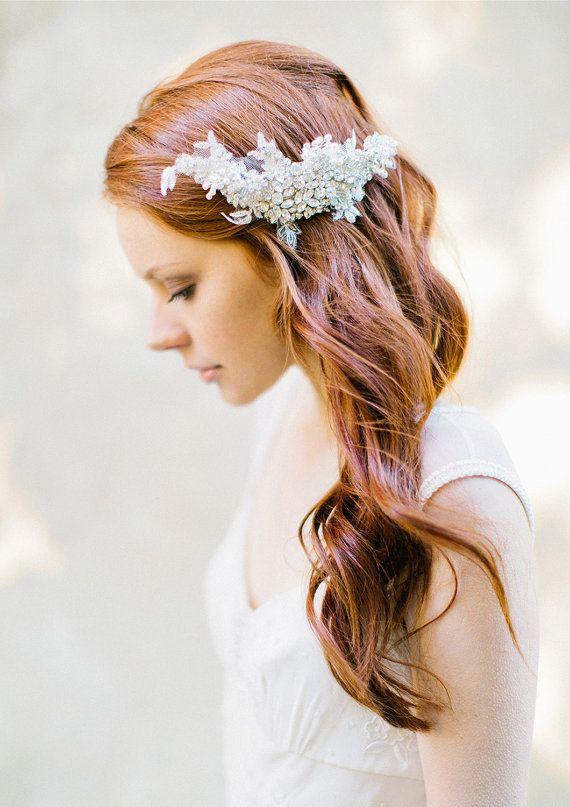 Wedding, Bridal Headpiece, Bridal Crystal & Lace Hair comb - Style 330