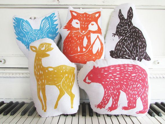 Bringing the Outdoors In// Woodland Creatures Collection. Hand Block Printed. Your choice of animals and colors. Made to order.