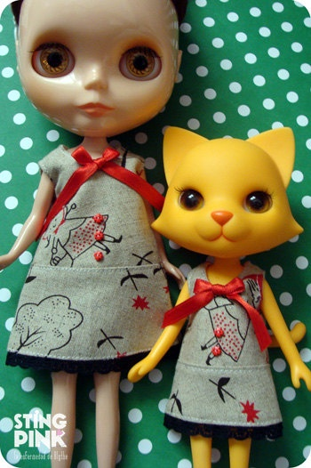 A Line Dress Odeco Chan & Nikki Cat Red Riding Hood by StingPink, $12.00
