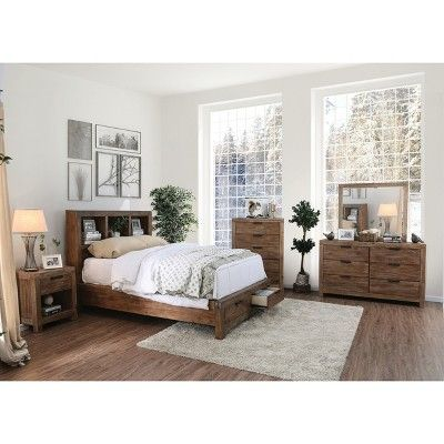 Queen Griffin Wood Bed Light Oak - ioHOMES | Oak bedroom ...