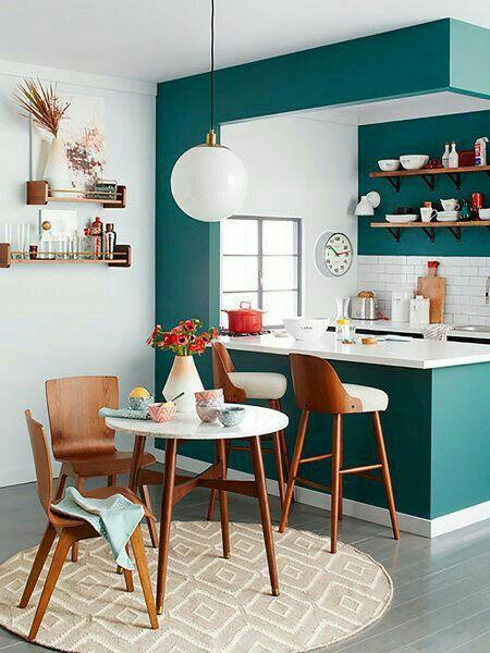 couleur, vert canard, moderne, cuisine, salle à manger, tapis, table