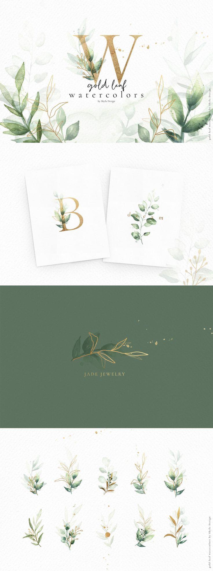 Gold leaf watercolor alphabet art