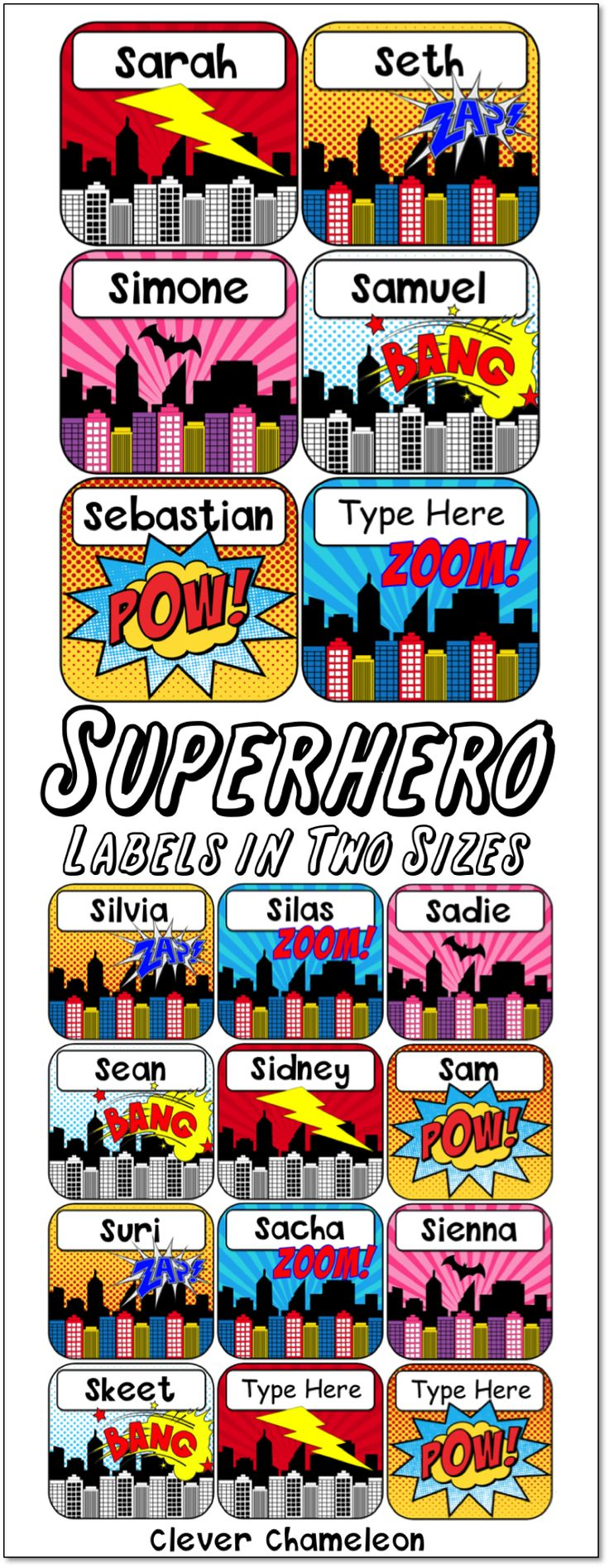 Superhero Labels in Two Sizes available at Clever Chameleon TPT