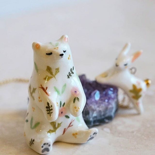 The hand painted details on @smallwildshop's little ceramic totems are so amazing! #smallwildshop #ceramics