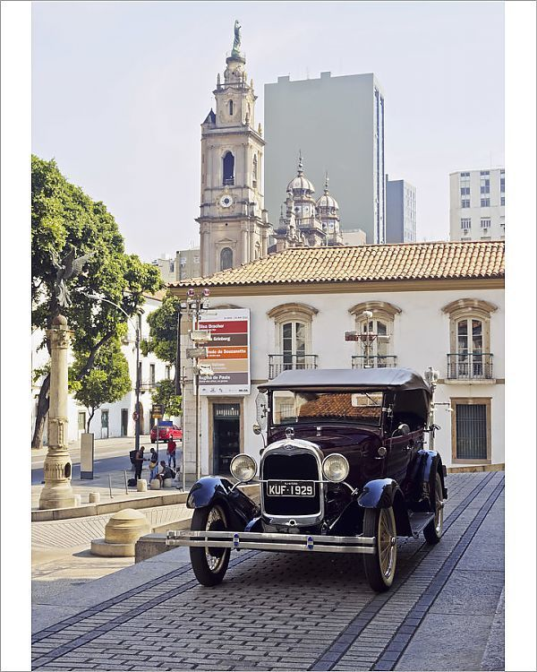 Print Of Brazil City Of Rio De Janeiro Centro Vintage Ford Car On The Stairs Of Tiradentes In 2020 Rio De Janeiro City Stairs