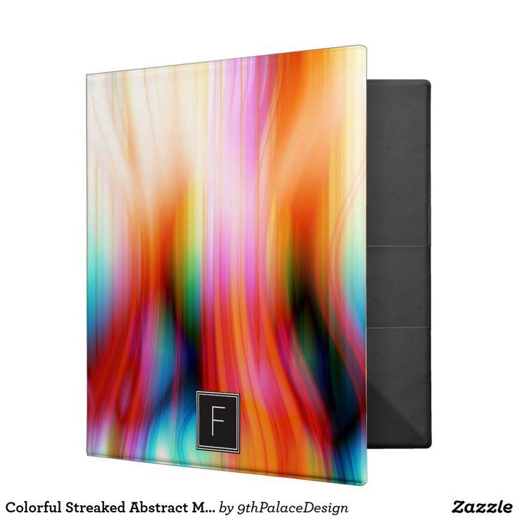 Colorful Streaked Abstract Monogram | Binder