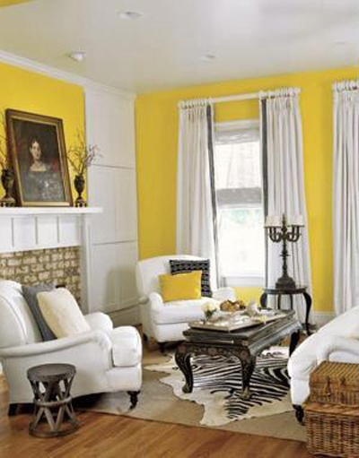 I love yellow (and gray and white) // Yellow would be so cheerful in the living room :)