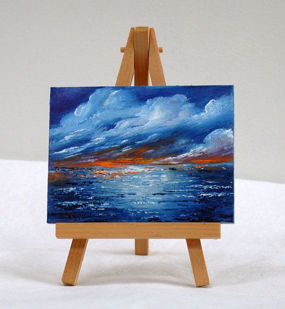 Ocean sunset, 3x4 original oil painting, blue, small painting, miniature by valdasfineart on Etsy