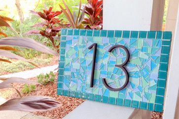 Mosaic House Numbers - beach style - house numbers - tampa - Green Street Mosaics