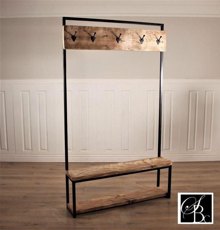 industrial coat stand hall shoe rack hooks rustic wood retro reclaimed handmade wooden