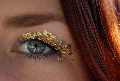 Love the site xojane. She gold leafed her eyelids, and walked you through how.