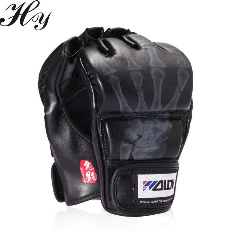 Sanda Training Gloves Black White Boxing Gloves Half Finger Sandbags Gloves Mitaine Boxe Leather guantes de Kick Boxing Guantes