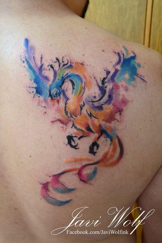 Portafolio - Javi Wolf                              watercolor phoenix tattoo