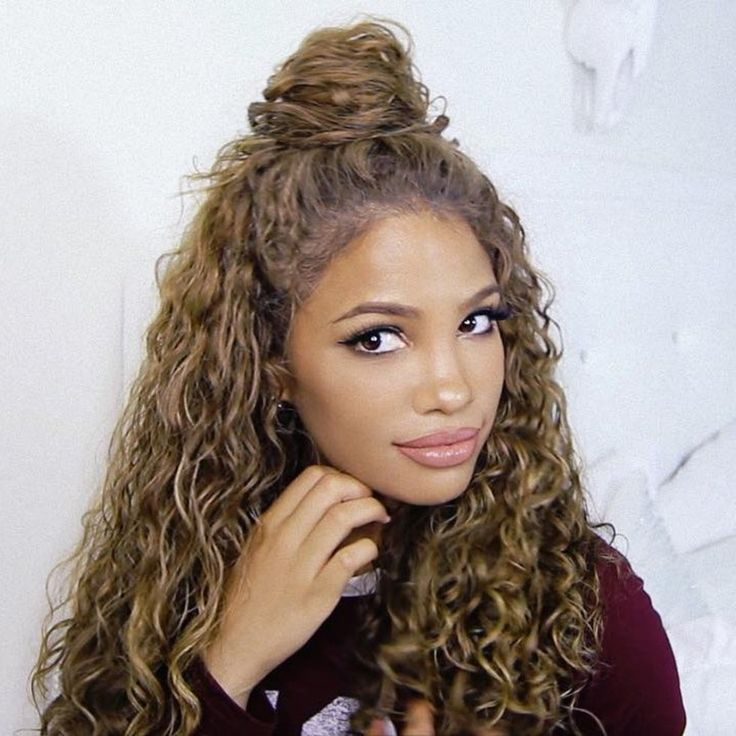 Half Buns Waterfalls And Tucks 15 Of The Best Quick Hairstyles For Curly Hair Half Bun