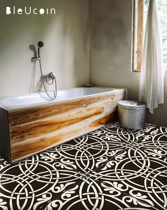 MOROCCAN ENCAUSTIC - kitchen/bathroom/stair/floor tile stickers: 44pcs