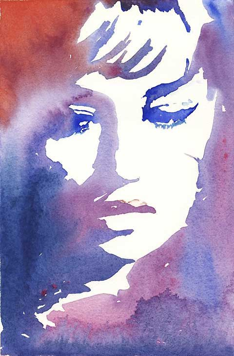 watercolor portrait - negative space art - one of my favorite mediums