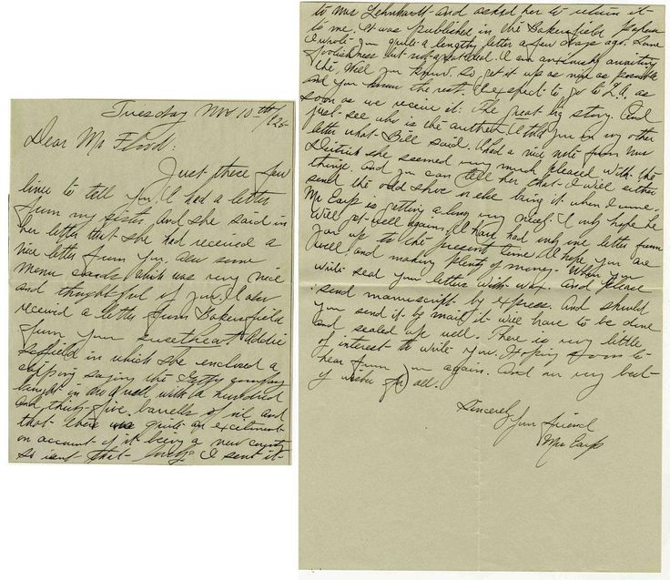 Autograph letter signed by Josie Earp, wife of the famed lawman and gambler Wyatt Earp. Josie writes to mining engineer John H. Flood Jr. on 10 November 1925.