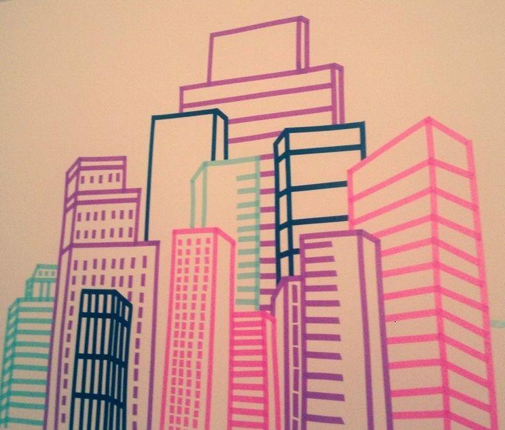 washi tape | Washi Tape Skyline Wall Design