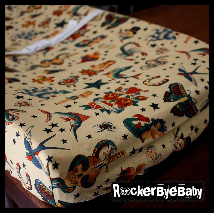 Punk Rock Contoured Changing Pad Cover totally custom YOU PICK FABRIC skulls, guitars, red, plack, pink and more. $25.00, via Etsy.
