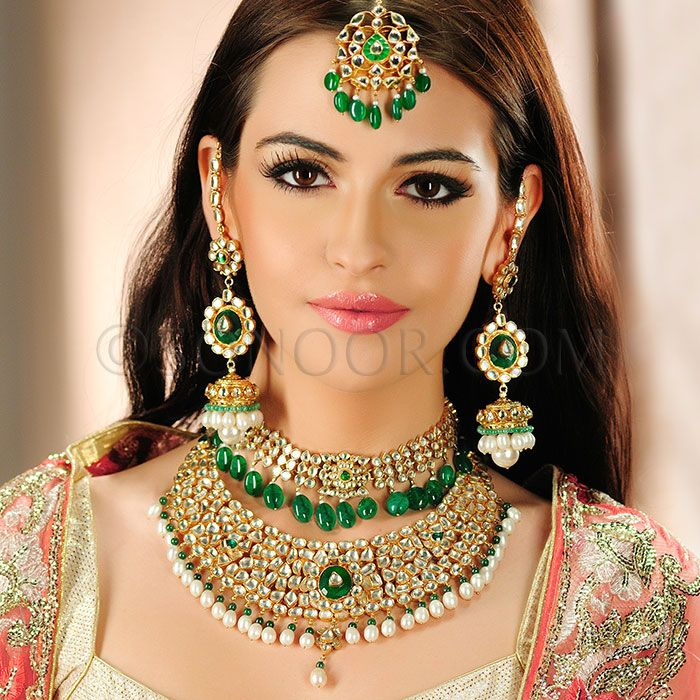 BRI/1/2751 Vira  Bridal Set includes Necklace, Choker, Earrings, and Maang Tika in dull gold finish studded with pachi kundan, pearls, and green jade  $1198 £707