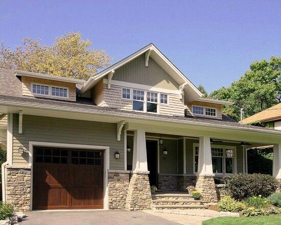 Lots of texture w stone, wood garage door,  vinyl siding, cedar shake shingles all make for great curb appeal #home #remodel #kitchen #bathroom #interiors
