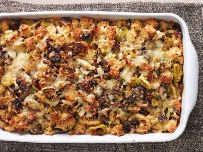 Mushroom & Leek Bread Pudding (Ina Garten, Food Network). Leeks, mushrooms, and pancetta, a combination that always pleases.
