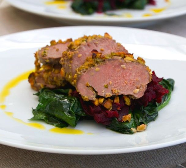 Annabel Langbein Pistachio Crusted Lamb Loin Fillets with Beetroot Confit Recipe