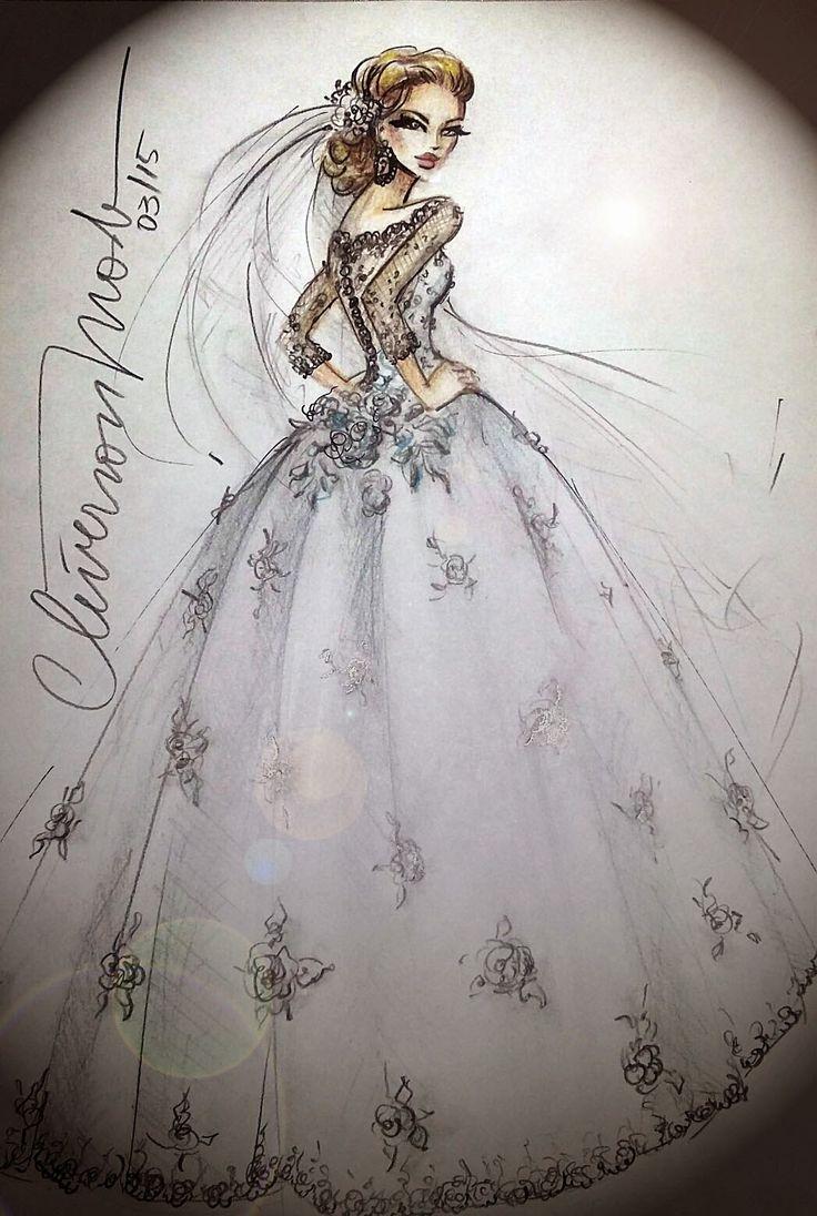 DESENHOS DE MODA: Desenho de Moda. Vestido de noiva tradicional com ...