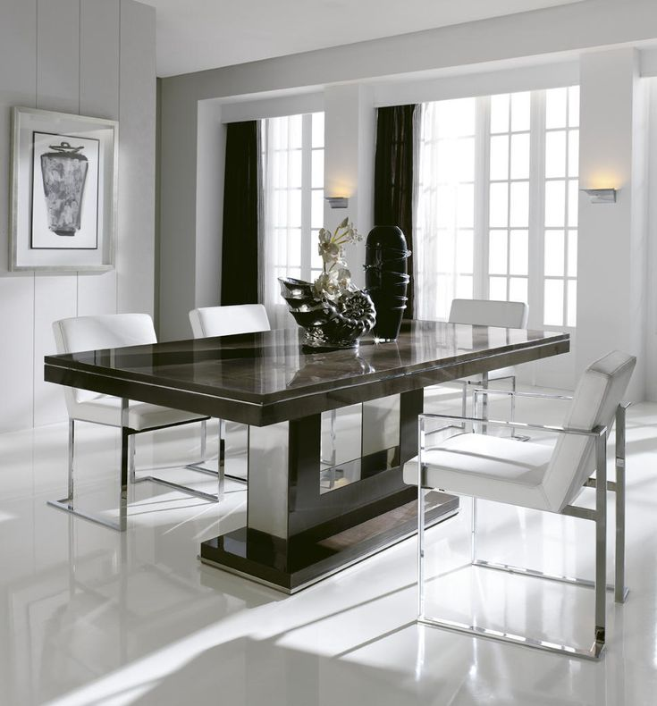 London Collection Italian Extending Dining Table Shown Here Finished In A Dark High Gloss Sycamore Wood