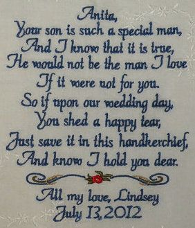 Personalized Hanky Poem Saying for Mother In Law of the Bride Groom Custom Embroidered Hankie Handkerchief By Canyon Embroidery on ETSY. $36.00, via Etsy.