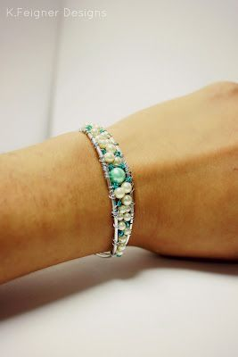 """Mermaid Tail"" Hammered & Beaded Wire Wrapped Bracelet - The Crafty Housewife:"