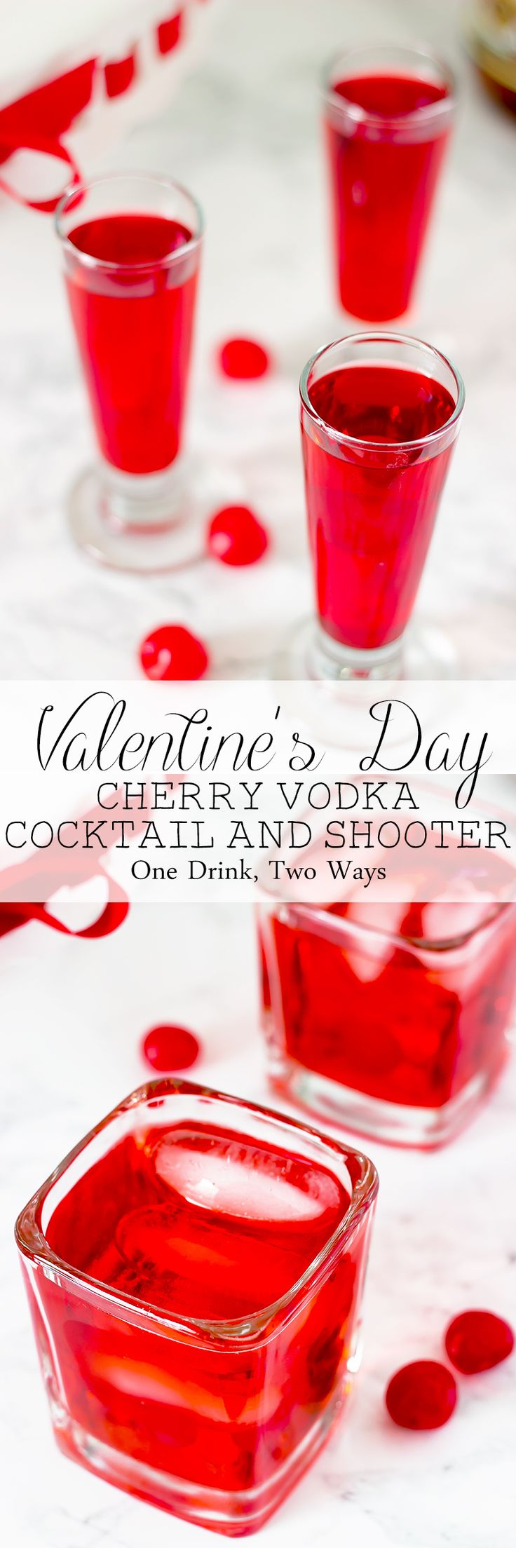 Valentine's Day Cocktail and Shooter --- This Cherry Vodka Cocktail & Shooter is the perfect drink combo for a red Valentine's Day.