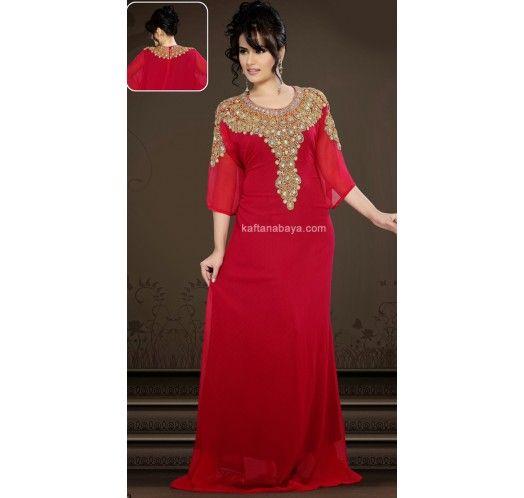Dark Red Faux Georgette Modern Islamic #Kaftan