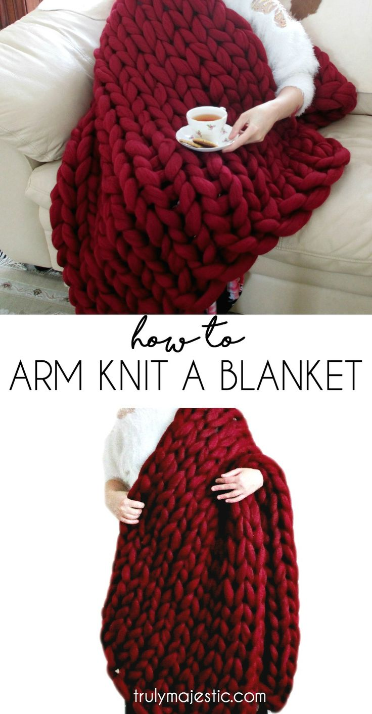 How to Arm Knit a Blanket - easier than you might think! Also shows you how to make the yarn!