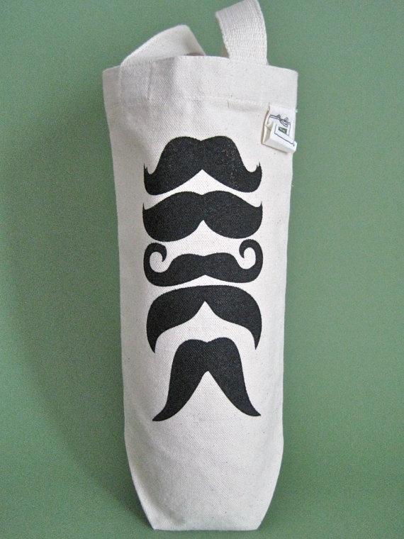 Fun mustache wine bag