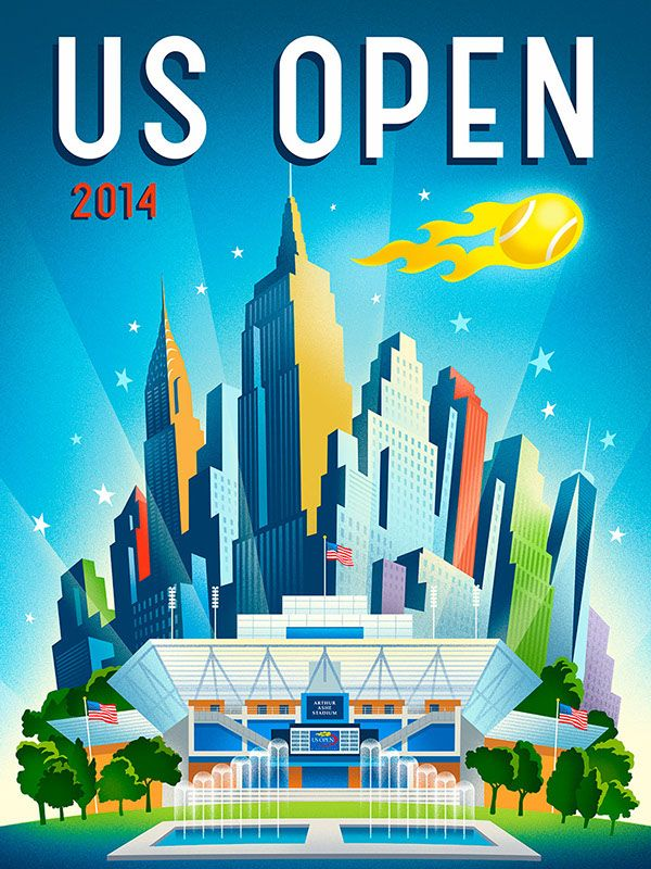 2014 US Open Tennis Theme Art by Michael Crampton, via Behance