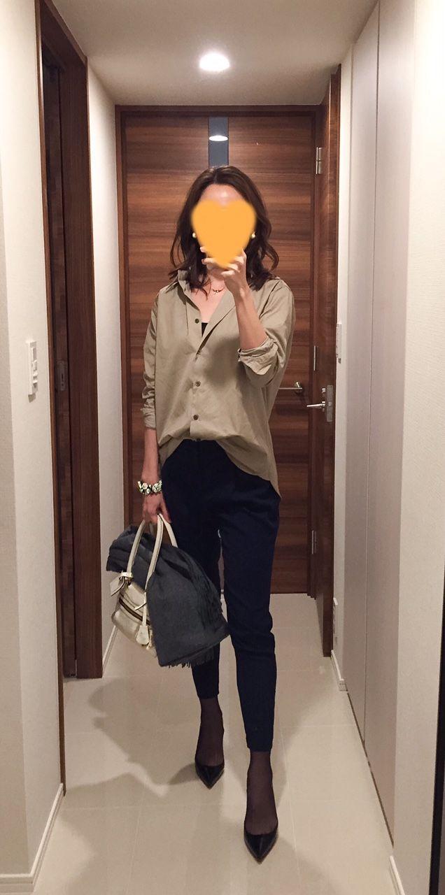Khaki shirt: martinique: Navy pants: Des Pres, White bag: J&M DAVIDOSON, Heels: Christian Louboutin