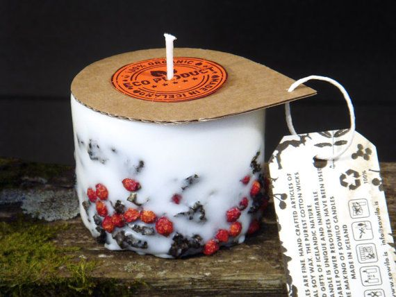 Icelandic soy wax candle Rowan berry with 2000 years old by Railis, $12.00