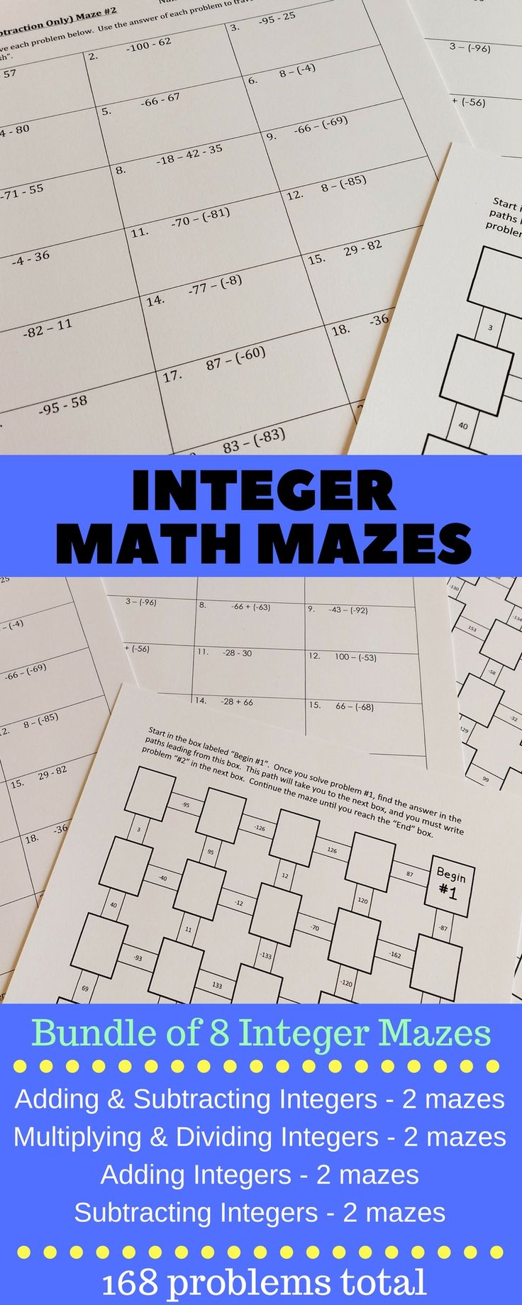 Integers Maze Bundle: 8 math mazes with a total of 168 integer problems. Mazes for adding integers, subtracting integers, multiplying integers, dividing integers, adding and subtracting integers (mixed), multiplying and dividing integers (mixed). Mazes are self-checking and a great way to practice math concepts. The front of the maze sheet provides the students with workspace so that all work can be shown. No prep - just print. Answer keys included. #middleschool #math