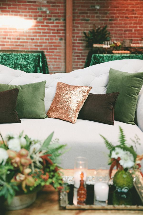 Lounge with Sequin Pillows   onelove photography   Modern Metallic Botanical Wedding in Emerald and Bronze