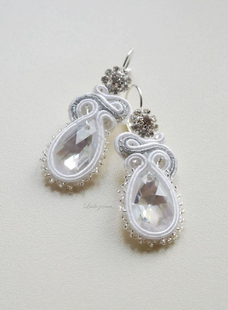 #soutache #earrings #crystal #wedding #white #pearls #www.ludozerna.com