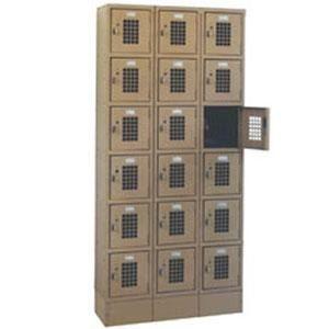 """Win-Holt WL-618 Triple Column Eighteen Door Locker with Perforated Doors - 36"""" x 12"""""""