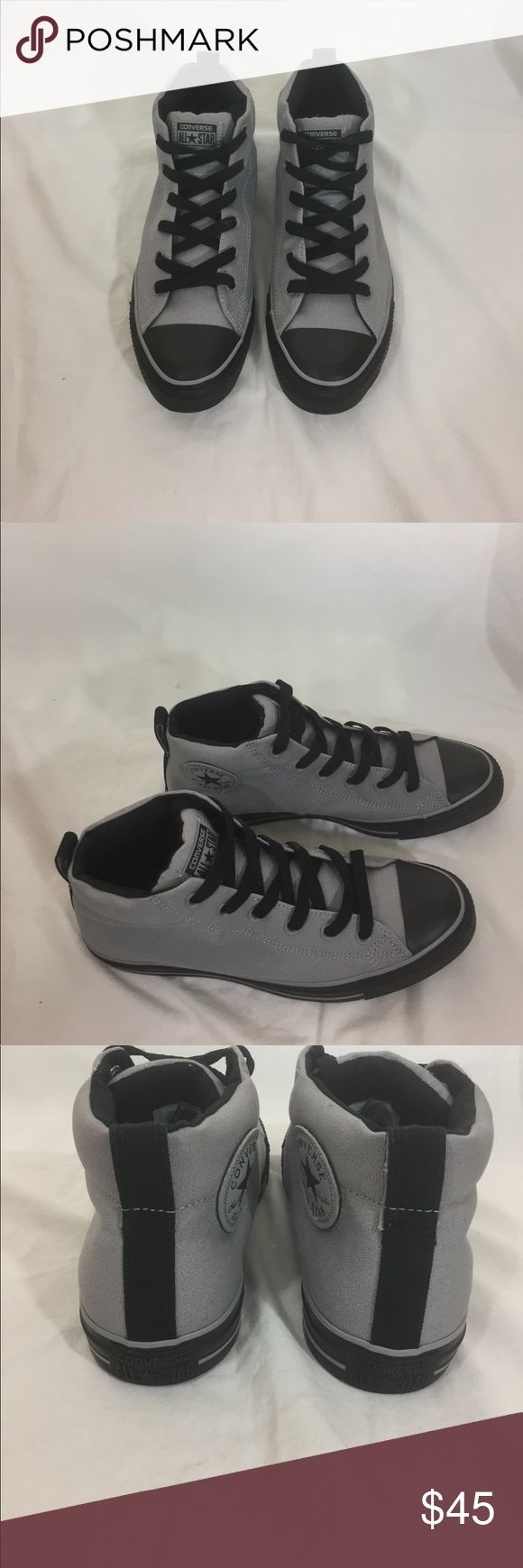Converse high tops gray and black size 10 Brand-new with box, box does not have a lid Converse Shoes Athletic Shoes