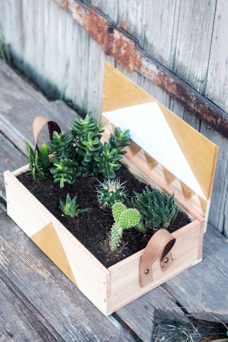 box à vin turned into a lovely jardinière :)