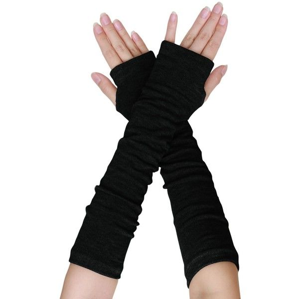uxcell Women Black Knitted Acrylic Fingerless Long Gloves Arm Warmers... ($4.17) ❤ liked on Polyvore featuring accessories, gloves, long gloves, elbow length gloves, opera gloves, cold weather gloves and fingerless arm warmers
