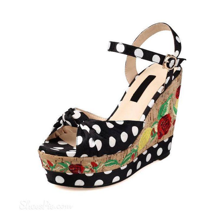 Amazing polka dots black wedge heels