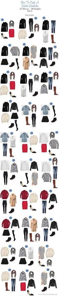 Winter Wardrobe 21 pieces - 30 outfits, part 2, The Outfits