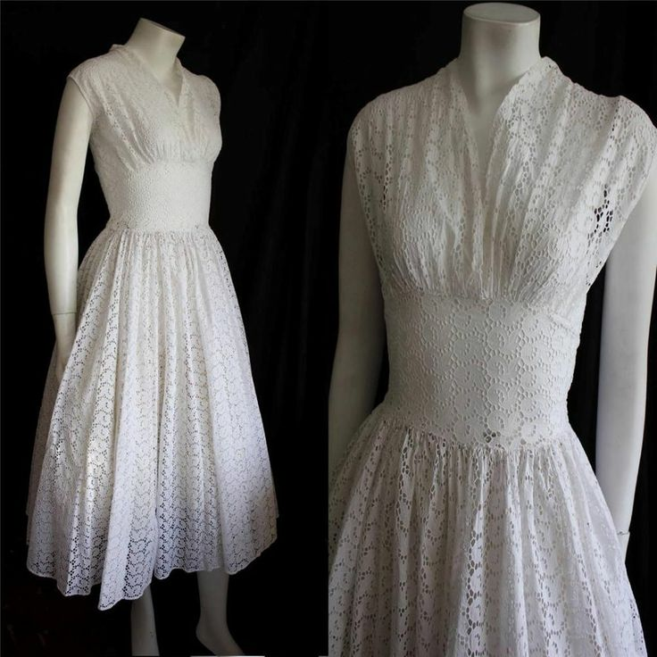 Vintage Original 50s White Floral Broderie Anglaise Dress