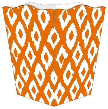 """Marye Kelley Orange Ikat Decoupage Wastebasket with Optional Tissue Box, 11"""" Sq traditional-waste-baskets"""