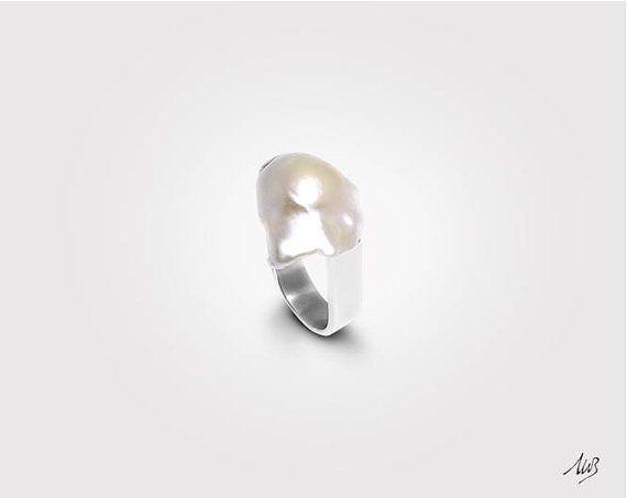 Silver ring with Baroque Pearl Brunelli di GioielleriaBrunelli